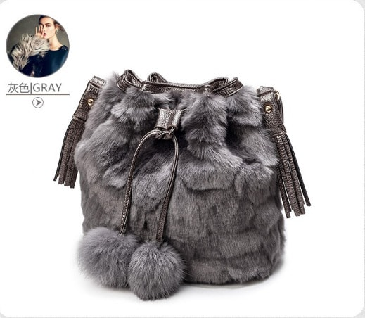 High Quality Faux Rabbit Fur Bucket Bag Women 2016 Winter Soft Lady Purse Shoulder Bag Casual Fashion Designer Women Bucket Bags