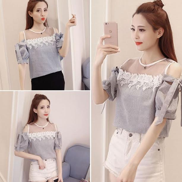 2017 New Cute Women Shirtsit Lace Striped Short Sleeve Dew Shoulder Crochetps Blouse Shirt